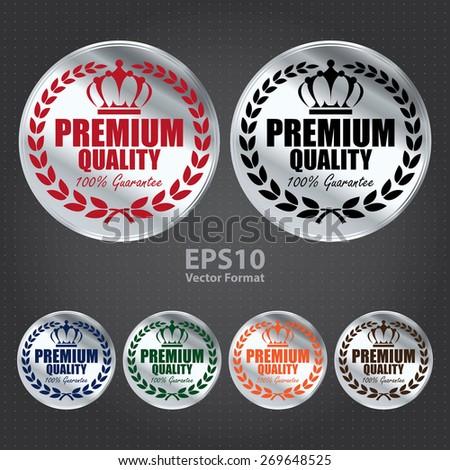 vector : silver circle premium quality 100% guarantee sticker, tag, sign, icon, label  - stock vector