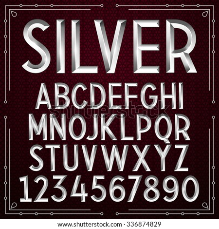 Vector Silver Embossed Font - stock vector