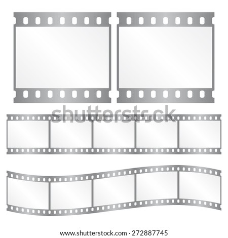 Vector silver film strips - waveform and straight strip. Insulated windows - you can create variable long straight filmstrip. Eps 10 vector file.  - stock vector