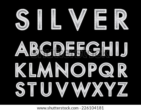 Vector silver font with bulbs. - stock vector