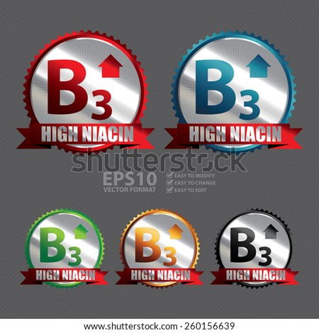 Vector : Silver High Niacin B3 Vitamin Ribbon, Badge, Icon, Sticker, Banner, Tag, Sign or Label  - stock vector