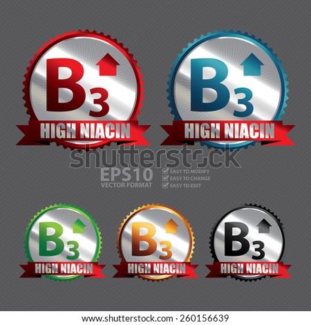 Vector : Silver High Niacin B3 Vitamin Ribbon, Badge, Icon, Sticker, Banner, Tag, Sign or Label  - stock vector