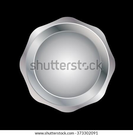 Vector Silver label .  Metal Insignia  - stock vector