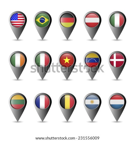 Vector silver metallic flag markers: USA, Brazil, Germany, Austria, Italy, Ireland, Mexico, China, Columbia, Denmark, France, Belgium, Argentina, Netherlands, Lithuania. - stock vector