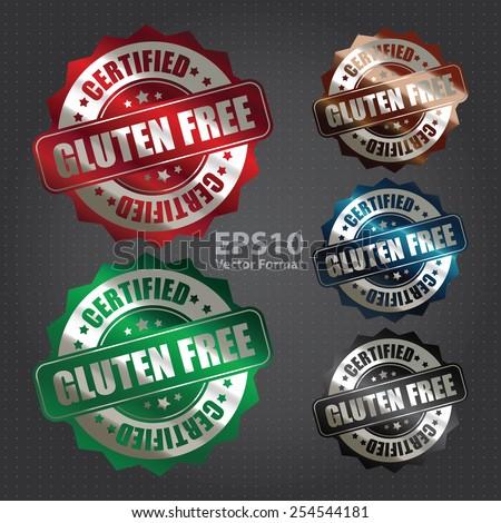 vector : silver metallic gluten free certified sticker, banner, sign, icon, label  - stock vector