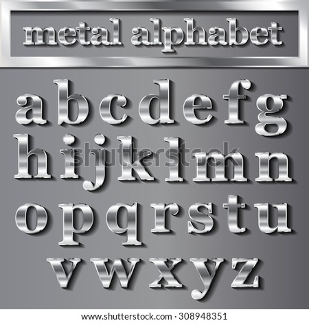 vector silver metallic letters with shadows on grey background. EPS - stock vector