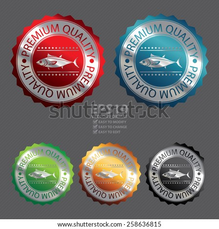 Vector : Silver Metallic Premium Quality Fish Badge, Icon, Sticker, Banner, Tag, Sign or Label - stock vector