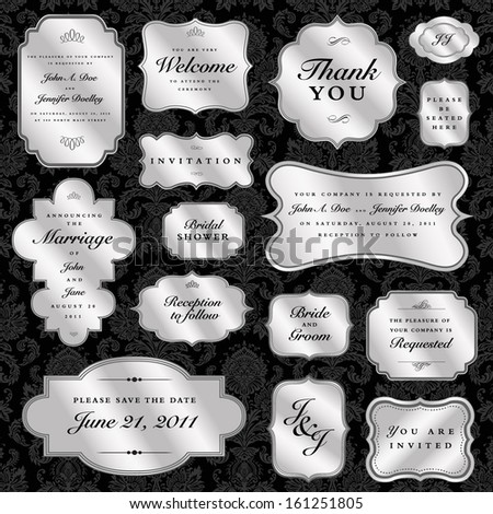 Vector silver seal and badge set. Great for invitations, diplomas and certificates. - stock vector