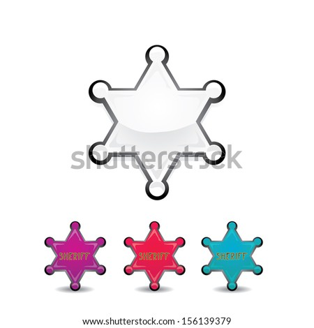 vector silver sheriff star isolated on background. Sheriff's badge star sign set - stock vector