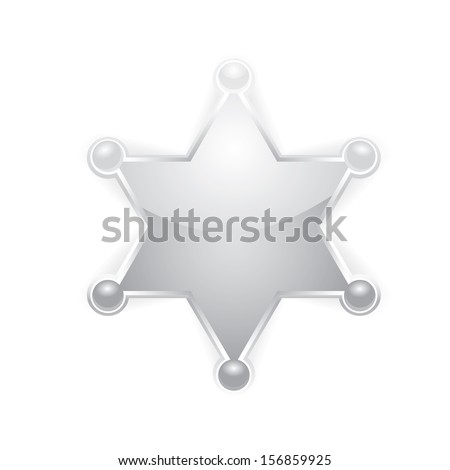 vector silver sheriff star isolated on white background. vector six-pointed star - stock vector