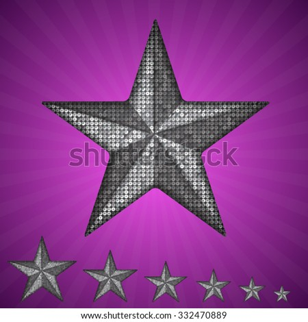 Vector silver star with elements of sequins, pallets and sparkles on a purple background.