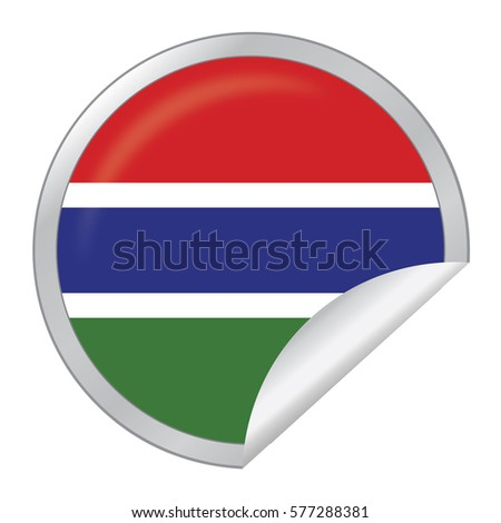 Vector silver sticker with map and flag of the gambia vector eps 10 illustration isolated