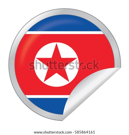 Vector silver sticker with map and flag of the north korea vector eps 10 illustration