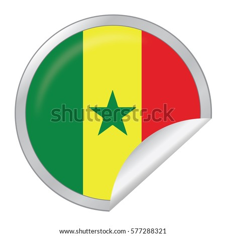 Vector silver sticker with map and flag of the senegal vector eps 10 illustration isolated