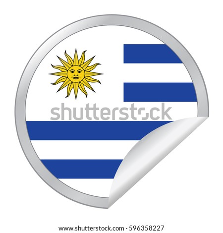 Vector silver sticker with map and flag of the uruguay vector eps 10 illustration isolated