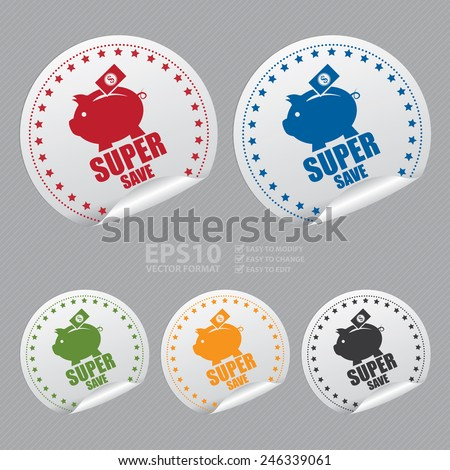 Vector : Silver Super Save Sticker, Icon, Badge, Sign or Label - stock vector