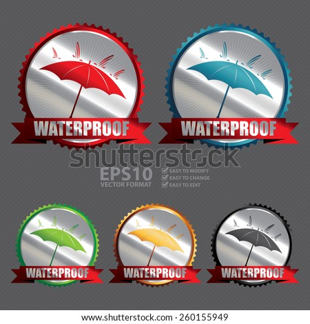 Vector : Silver Waterproof Ribbon, Badge, Icon, Sticker, Banner, Tag, Sign or Label - stock vector