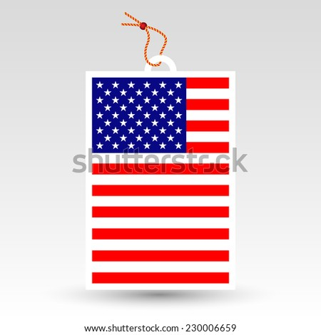 vector simple american price tag - symbol of made in usa - label with string - national flag pattern - stock vector