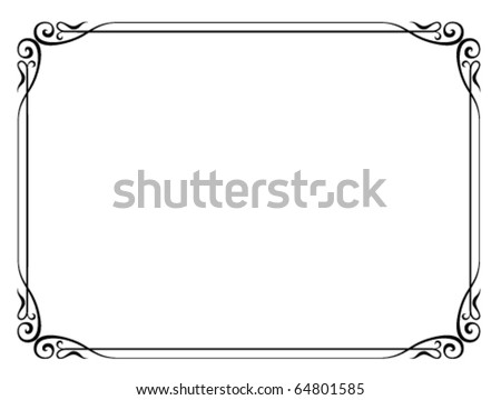Vector simple black ornamental decorative frame - stock vector