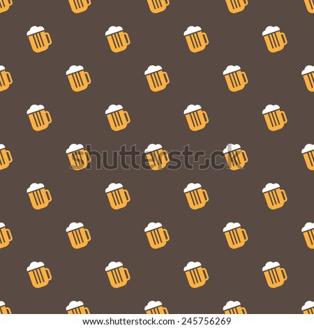 Vector simple bright beer mug seamless pattern - stock vector