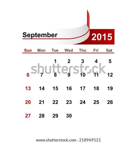 Vector simple calendar 2015 year september month. - stock vector