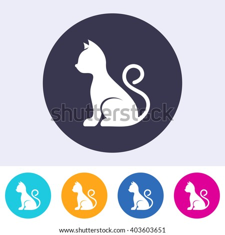Vector simple cat icon on round colorful buttons - stock vector