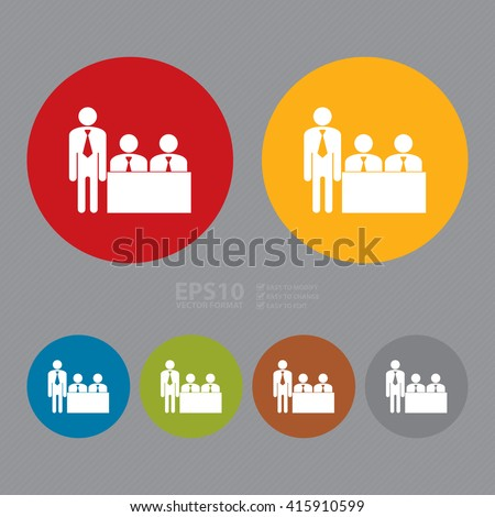 Vector : Simple Circle Businessman Meeting, Class Room Infographics Flat Icon, Sign - stock vector