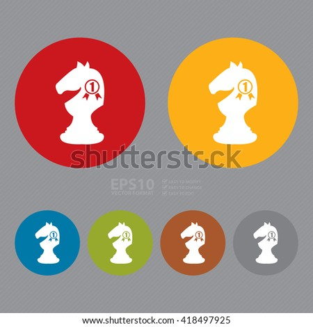 Vector : Simple Circle Number 1 Knight, Horse, Chess Infographics Flat Icon, Sign - stock vector