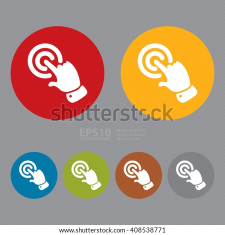 Vector : Simple Circle Push, Click Infographics Flat Icon, Sign  - stock vector