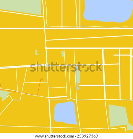 Vector simple city map pastel colors - stock vector