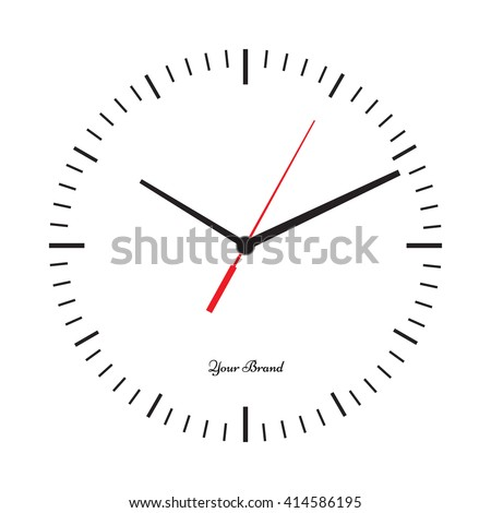 Vector simple classic clock icon without numbers. Clock with solid and flat color design. Isolated white background. Place your logo.