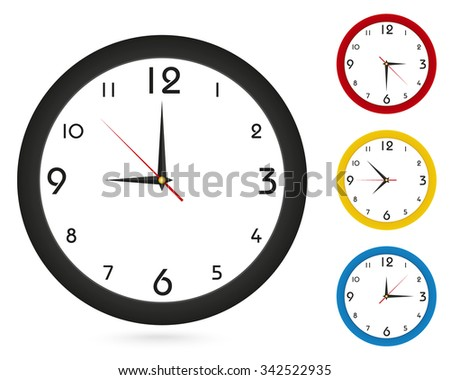 Vector simple classic wall Clock, for your clock design. Black Clock, Red Clock, Yellow Clock, Blue Clock. Vector Illustration. - stock vector