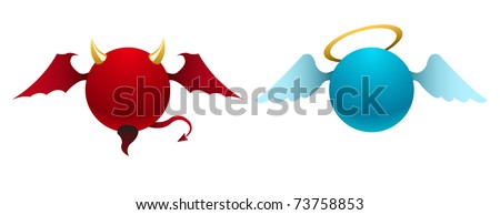 Vector simple devil and angel icons - stock vector