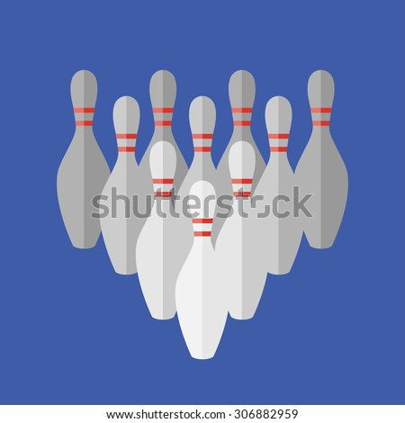 Vector simple flat  bowling skittles icon. Eps10 - stock vector