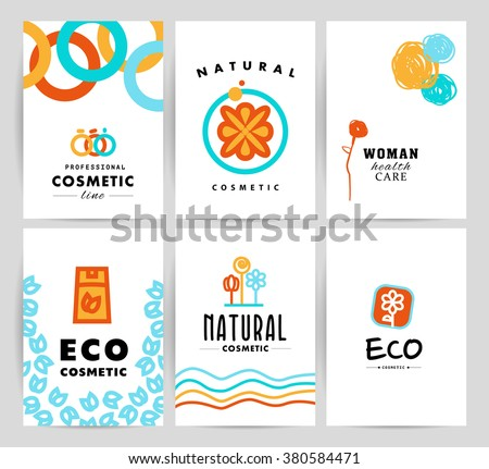 Vector simple flat card, leaflet, with organic cosmetic logo. Minimalistic icon, logo design. Beauty industry company insignia, yoga, woman, kid care brand mark, natural cosmetic store, shop logotype. - stock vector