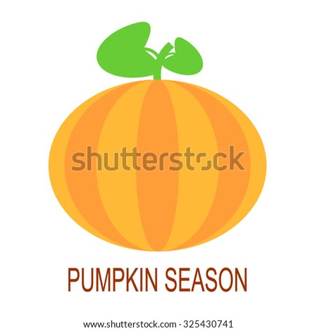 Vector simple flat style pumpkin illustration. Pumpkin icon. Orange pumpkin logo. Ripe pumpkin with two leaves. - stock vector