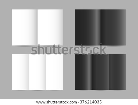 Vector simple folded paper leaflets in black and white color