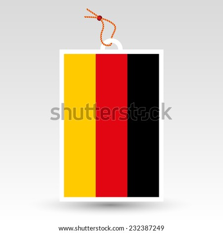 vector simple German price tag - symbol of made in Germany - label with string - national flag of deutschland pattern - stock vector
