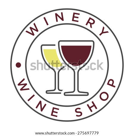 Vector simple linear style icon with glasses of white and red wine for winery label   - stock vector