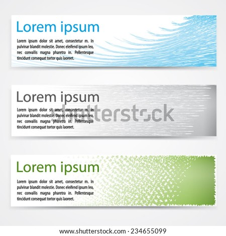 Vector simple modern horizontal banners set. Colorful - blue, grey/silver and green. Extensive use - www, webside, web, backdrop, card, poster, label etc. Eps 10 vector file.  - stock vector