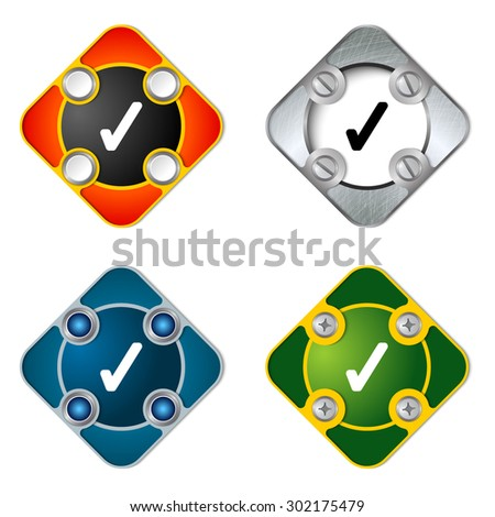 Vector simple objects with screws and check box - stock vector