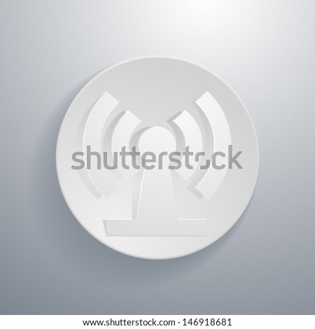 Vector simple paper-cut style, circular icon, wifi zone.