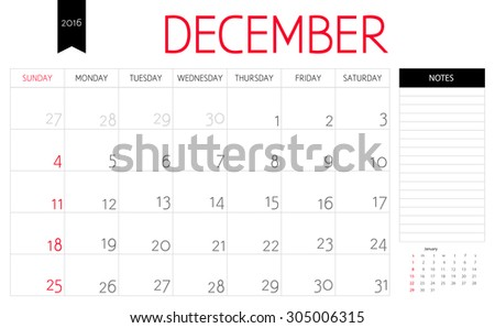 Vector simple planning calendar December  2016 with a place for notes. Weeks start on Sunday - stock vector
