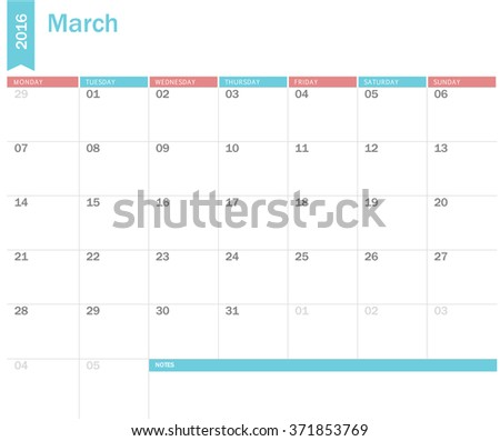 Vector simple planning calendar March 2016. Weeks start on Sunday - stock vector