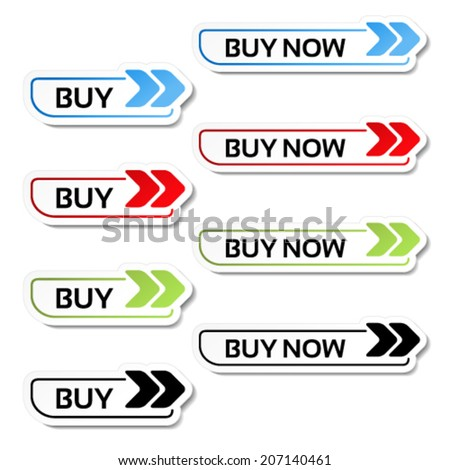 Vector simple shopping cart, menu items, buy buttons with arrows - labels, stickers on the white background  - stock vector