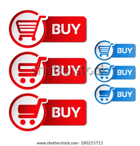 Vector simple shopping cart, menu items, white buttons with trolley - stock vector