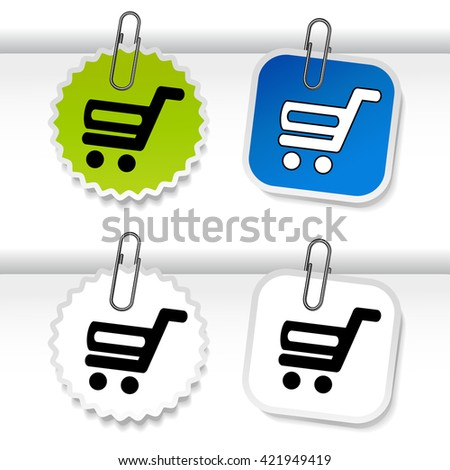 Vector simple shopping cart - trolley on green, blue and white stickers. Rounded and square labels. Item, buy button for web page.  - stock vector