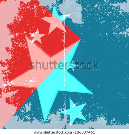 Vector simple  Stars Grunge version of American flag with text . EPS 10. - stock vector