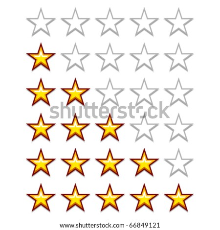 vector simple yellow rating stars - stock vector