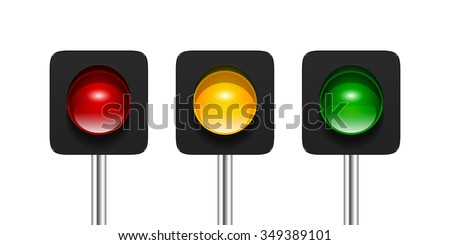 Vector single aspect traffic signals isolated on white background. Red, amber and green traffic lights icons for your design. - stock vector